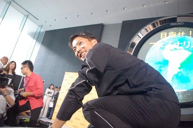 山縣亮太、リオ五輪代表決定記者会見(2016年6月30日)撮影:大日方航