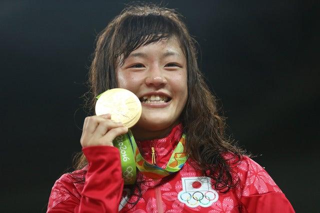 女子レスリングの登坂絵莉がリオデジャネイロ五輪で金メダルを獲得(2016年8月17日)(c) Getty Images