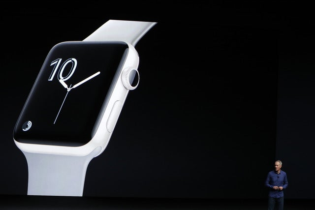 「Apple Watch Series 2」のプレゼンテーション(2016年9月7日)(c) Getty Images