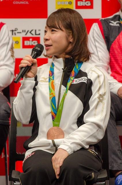 スポーツくじ(toto・BIG)感謝イベントに登壇した三宅宏実(2016年10月6日)撮影:五味渕秀行