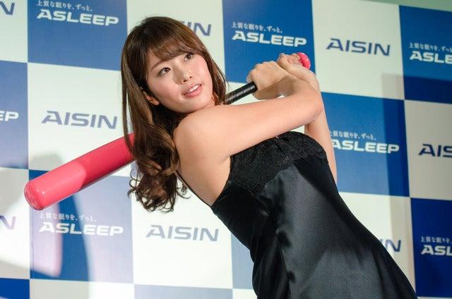 ASLEEP新商品発表会に稲村亜美が登壇(2016年11月2日)撮影:五味渕秀行