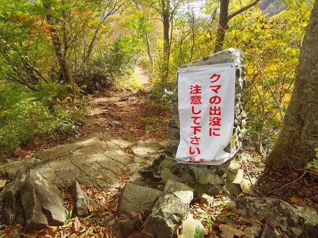 一ノ倉沢から湯檜曽川に降りる散策路入口撮影:山口和幸