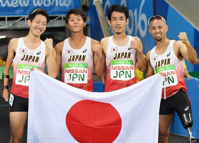 リオデジャネイロパラリンピック、男子陸上4×100mリレー日本代表メンバー(2016年9月12日)(c) Getty Images