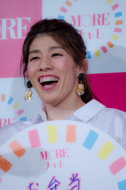 女性ファッション誌『MORE』のモアチャレ宣言プレス発表会に登壇した吉田沙保里(2017年3月28日)撮影:五味渕秀行