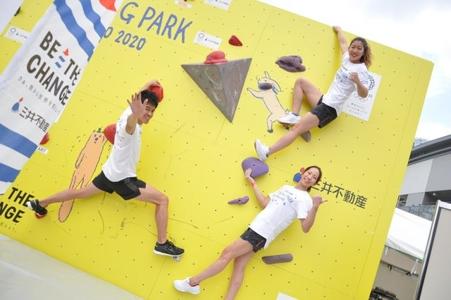 野口啓代(あきよ)選手、野中生萌(みほう)選手と、元・陸上十種競技選手武井壮さんが、ららぽーと豊洲にて5月18日~21日の4日間開催される「三井不動産クライミングパーク for TOKYO2020」オープニングイベントに登壇した。撮影者:大日方航