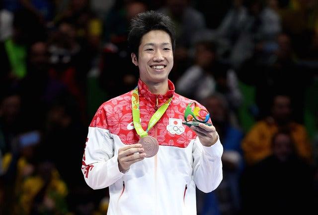 卓球日本代表の水谷隼がリオデジャネイロ五輪で銅メダルを獲得(2016年8月11日)(c) Getty Images