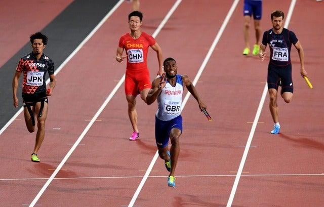 男子400メートルリレー、日本が史上初の銅メダル獲得(2017年8月12日)(c)Getty Images