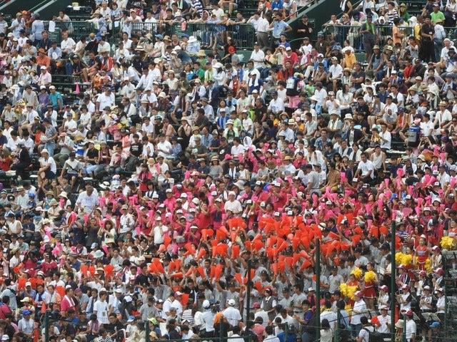 カラフルに染まる応援席を見るのも楽しみの一つともいえる撮影:手束仁