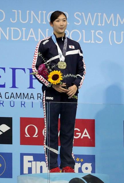 第6回世界ジュニア水泳選手権女子50mバタフライで池江璃花子が優勝(2017年8月26日)(c) Getty Images