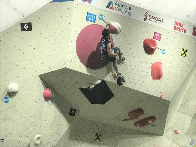 世界ユース選手権男子ボルダリング(ユースA)で田嶋瑞貴が3位に(2017年9月1日)画像提供:日本山岳・スポーツクライミング協会