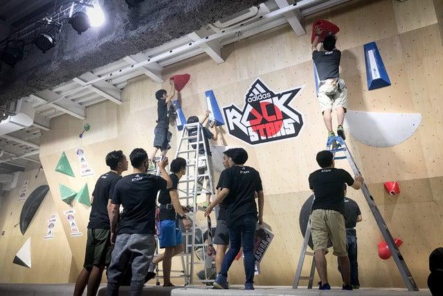 ADIDAS ROCKSTARS TOKYO 2017でルートを作るルートセッターたち撮影:五味渕秀行