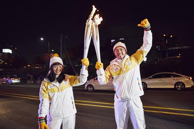 北島康介と白石阿島、平昌オリンピック聖火リレーに登場