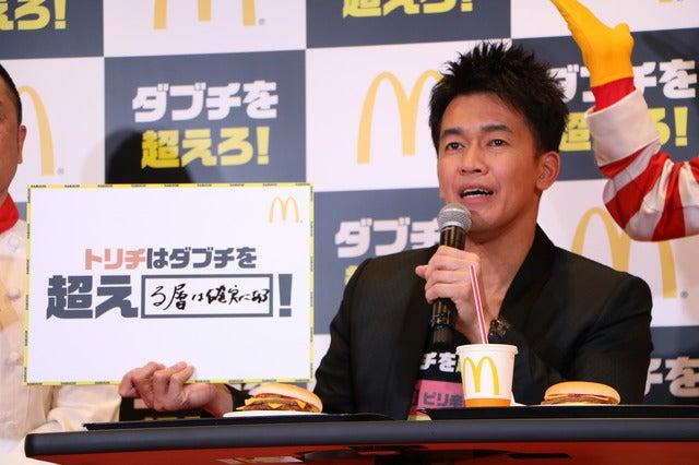 マクドナルドの『ダブチを超えろ!』キャンペーン発表会に登壇した武井壮(2018年1月5日)撮影:山本有莉