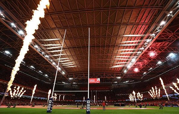 開閉式屋根を持つ、プリンシパリティ・スタジアム(2017年3月10日)(c)Getty Images