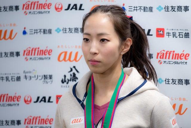 第13回ボルダリングジャパンカップで優勝した野口啓代(2018年2月4日)撮影:五味渕秀行