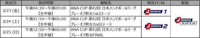日本ハンドボールリーグ プレーオフ、全6試合をJ SPORTSが無料生中継