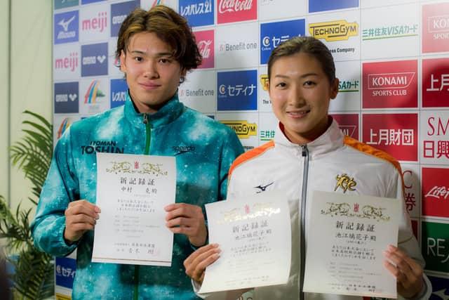 第34回コナミオープンに出場した中村克(左)と池江璃花子(2018年2月18日)撮影:五味渕秀行