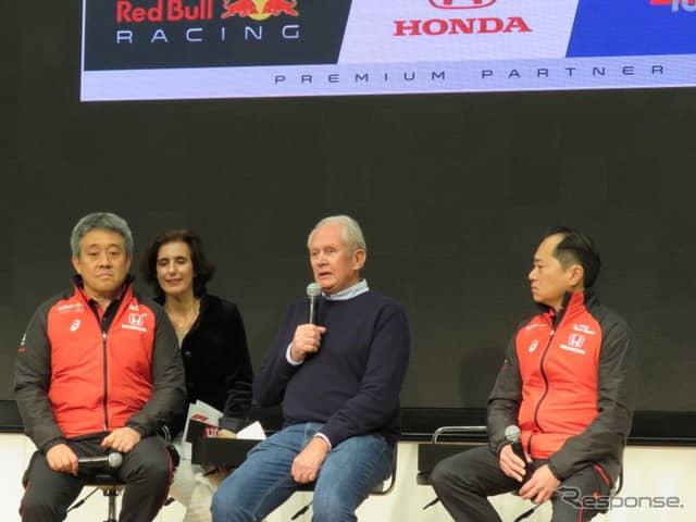 (左から)ホンダの山本氏、(通訳を挟んで)レッドブルのマルコ氏、ホンダの田辺氏。《撮影 遠藤俊幸》