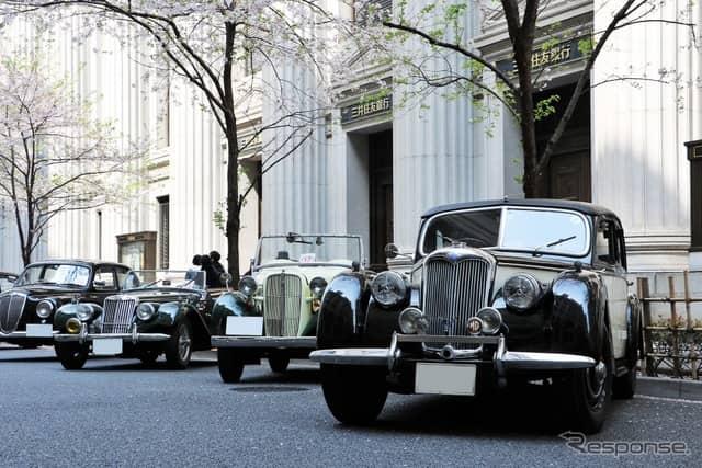 右からライレー RMB、ダットサン・スポーツDC-3、MG TF《撮影  内田千鶴子》