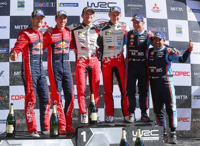 WRCチリ戦の表彰式。《写真提供 TOYOTA》
