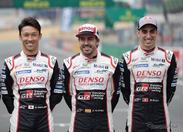 #8 トヨタの(左から)中嶋、アロンソ、ブエミ(写真はレース前)。《写真提供 TOYOTA》