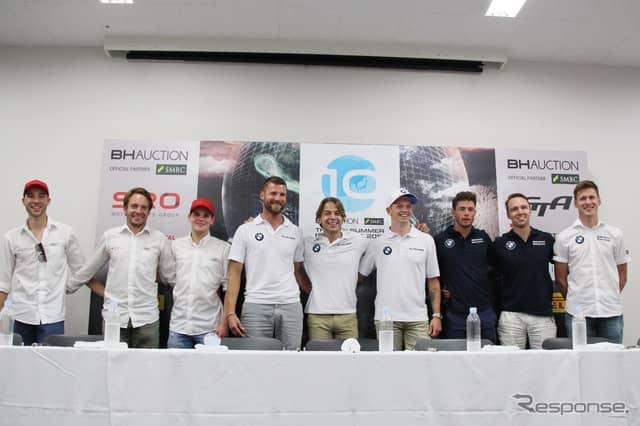 左から3名ずつ、予選2番手の#25 Audi Sport Team WRT、ポールポジションの#42 BMW Team Schnitzer、3番手の#34 Walkenhorst Motorsportの各ドライバー《撮影 藤木 充啓》